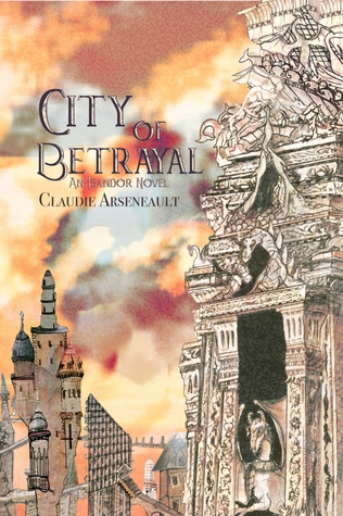 Book cover: View over the rooftops of the city with a fiery sky in the background.