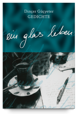 Book cover: A glass of tea and a pen on paper on a table.
