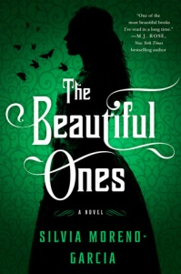 Book cover: Black silhouette of a woman in a dress on a green-patterned background. She is facing towards the left of the book. There are silhouettes of butterflies in front of her face.
